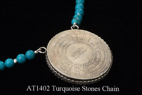 72 Names & Archangels 35gr 925 Silver Amulet - Turquoise Stones Chain