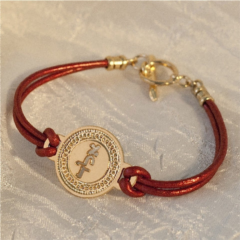 72 Names - KP Gold Coin - Aleph-Lamed-Dalet - Protection, Red Leather - Micro Macrame Bracelet