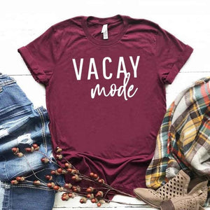 Vacay mode Print Women tshirt Cotton Casual Funny t shirt For Lady Girl Top Tee Hipster Drop Ship NA-300