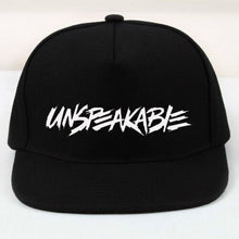 Load image into Gallery viewer, PRINTED UNSPEAKABLE BLACK SNAPBACK CAP HAT NATHAN GAMER VLOGGER ONE SIZE GAMING