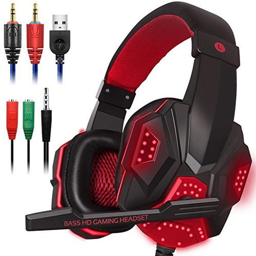 Gaming Headset with Mic and LED Light for ipod phone Laptop Computer 3.5mm Wired Noise Isolation Volume Control Gaming Headphone
