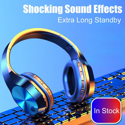 Bluetooth Headphones 5.0 Wireless Headphone Foldable Earphone Deep Bass Headphones With Mic Music Game Earphone For Phone PC Ear