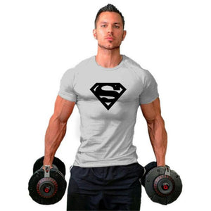 Mens Fit T-shirts Superman Bodybuilding Fitness T Shirts Gyms Cotton Mens Short Sleeve Tees Workout tshirt Muscle Hip Hop