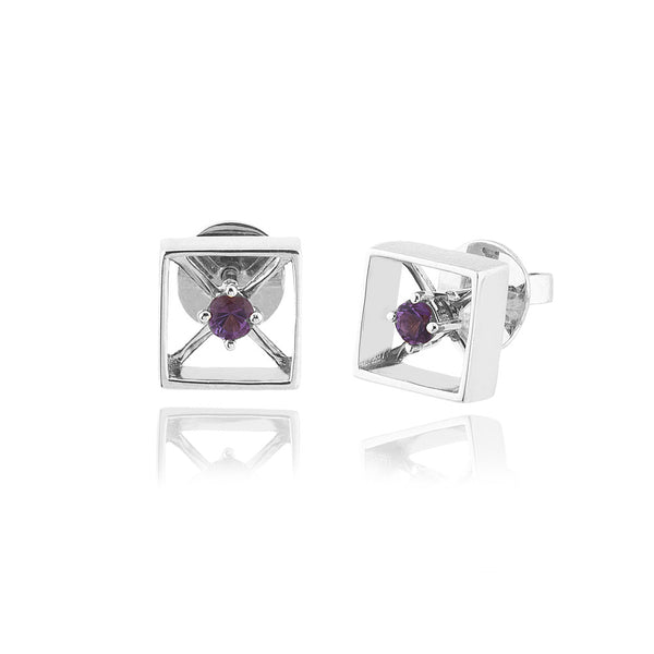 X-Squared White Earrings - Amethyst