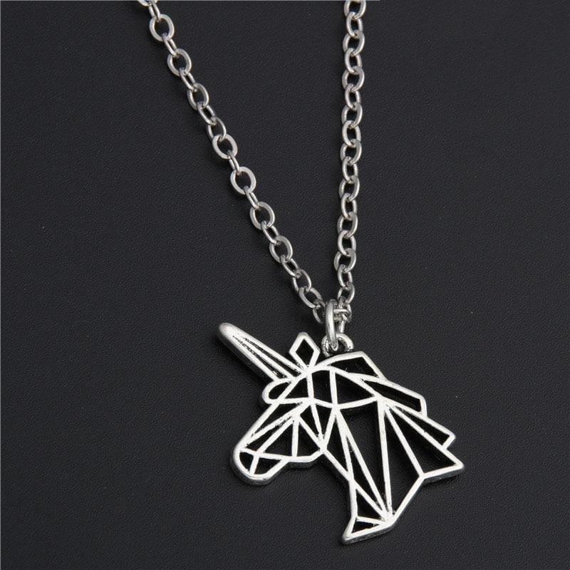 Unicorn Head Silver Origami Necklace