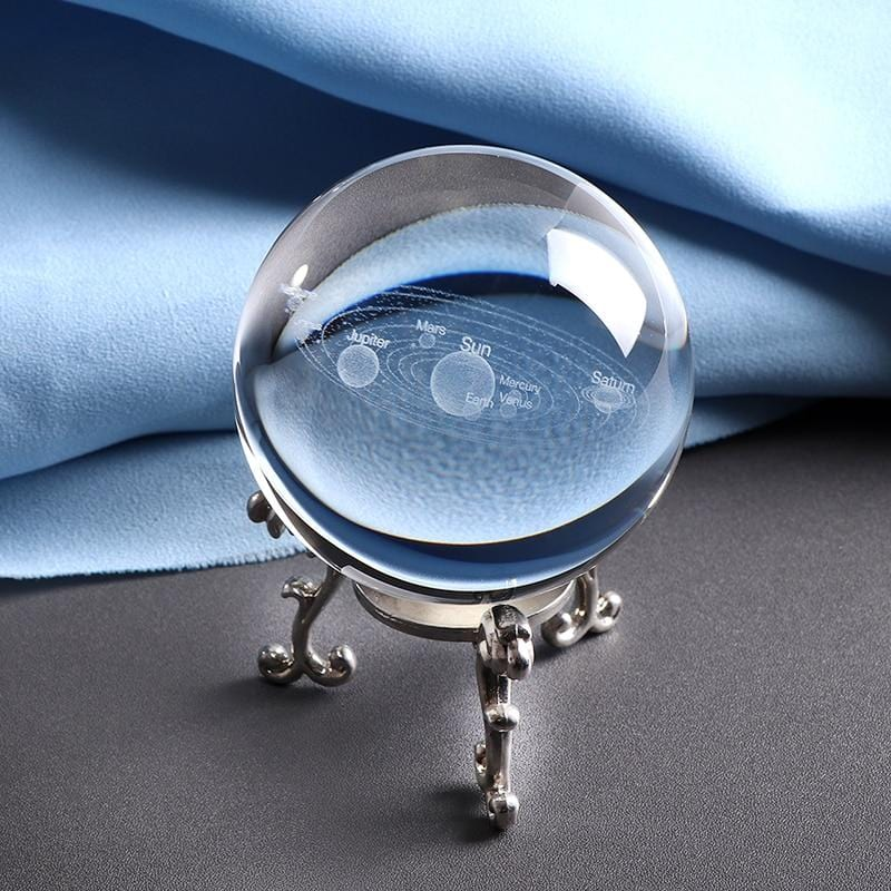 Solar System 3D Crystal Ball with Base