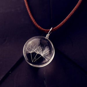 Real Pressed Handmade Dandelion Crystal Pendant Necklace