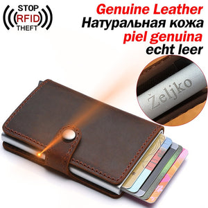 Genuine Leather Stylish RFID-Block Card Holder