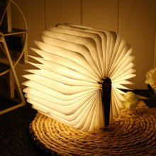 Load image into Gallery viewer, Foldable LED Wooden Book Lamp
