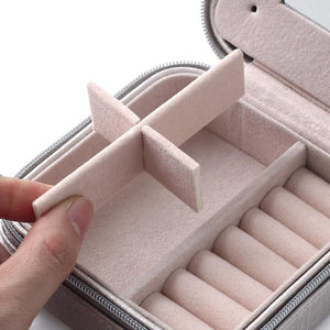 Small Jewelry Box Portable Travel Case Organizer for Rings, Necklaces & Earrings