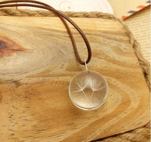 Load image into Gallery viewer, Real Pressed Handmade Dandelion Crystal Pendant Necklace
