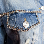 MY TWIN Giacca in jeans con strass - Mancinelli 1954