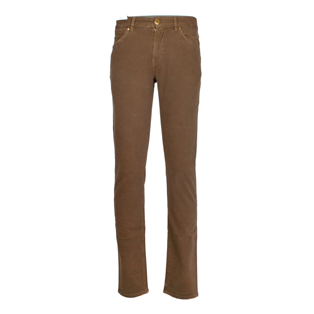 Pantalone cinque tasche swing in cotone stretch color tabacco