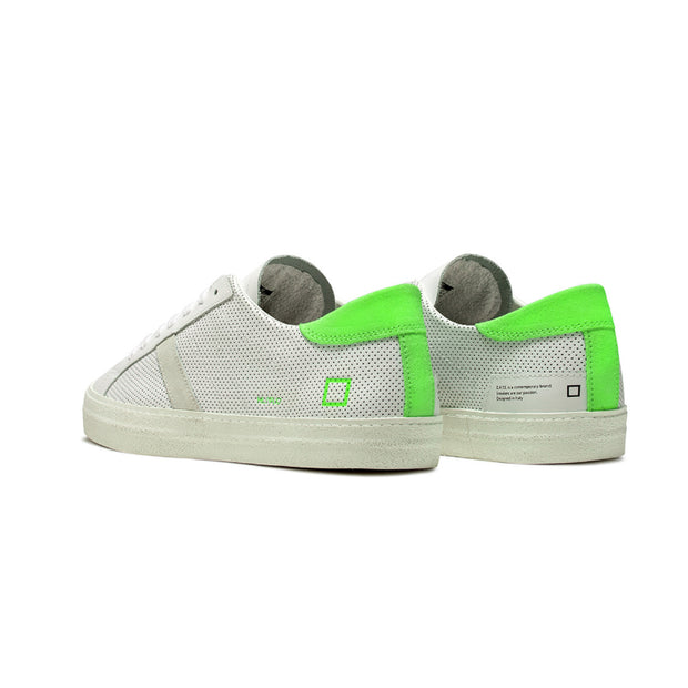 DATE Sneaker bassa Hill Low Fluo Perforated Bianca/Verde - Mancinelli 1954