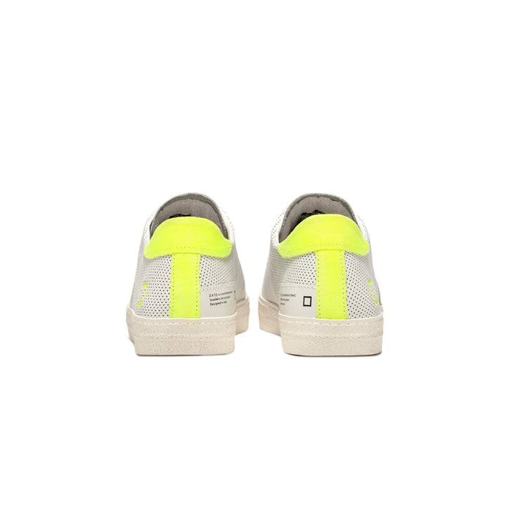 DATE Sneaker bassa Hill Low Fluo Perforated Bianca/Gialla - Mancinelli 1954