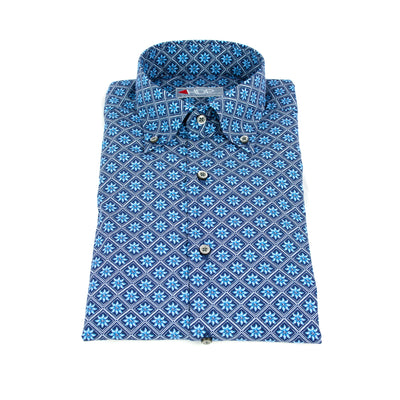 HDP Camicia fantasia collo Button Down Blu - Mancinelli 1954