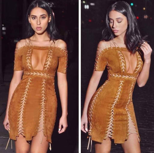 SUEDE LACE UP DRESS