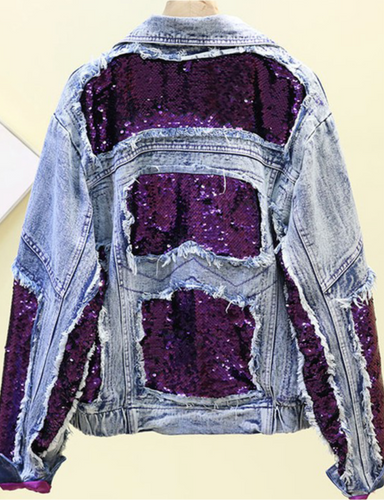PURPLE SEQUIN DENIM JACKET