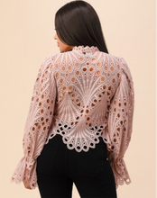 Load image into Gallery viewer, CROCHET LACE TOP/w BELL SLEEVE
