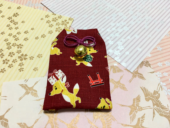 Japanese Handmade Amulet Omamori Good Luck Charm Accessory - Type A / Dark Red