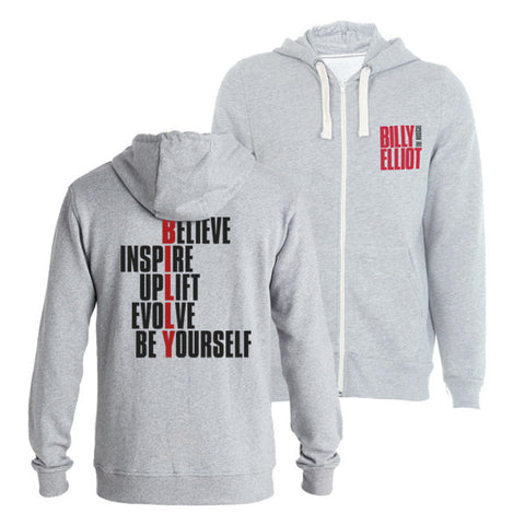 Billy Elliot Logo Grey Hooded Zip Sweatshirt