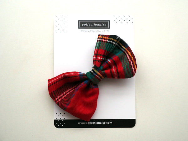 Large Red Tartan Check Bow