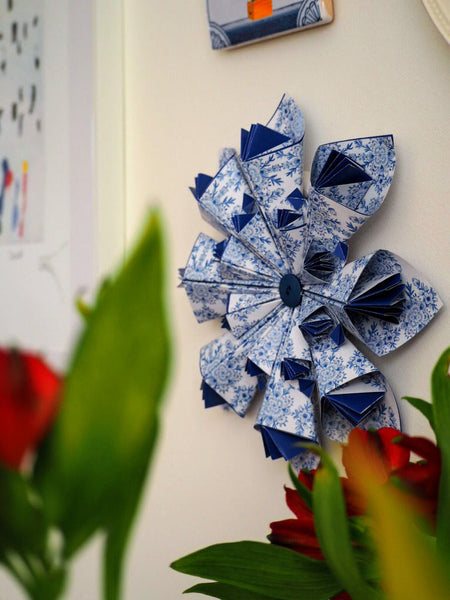 Delft Blue Origami Flower Wall Decor