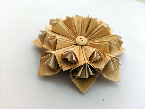 Japanese Hinoki Wood Origami Flower Fridge Magnet