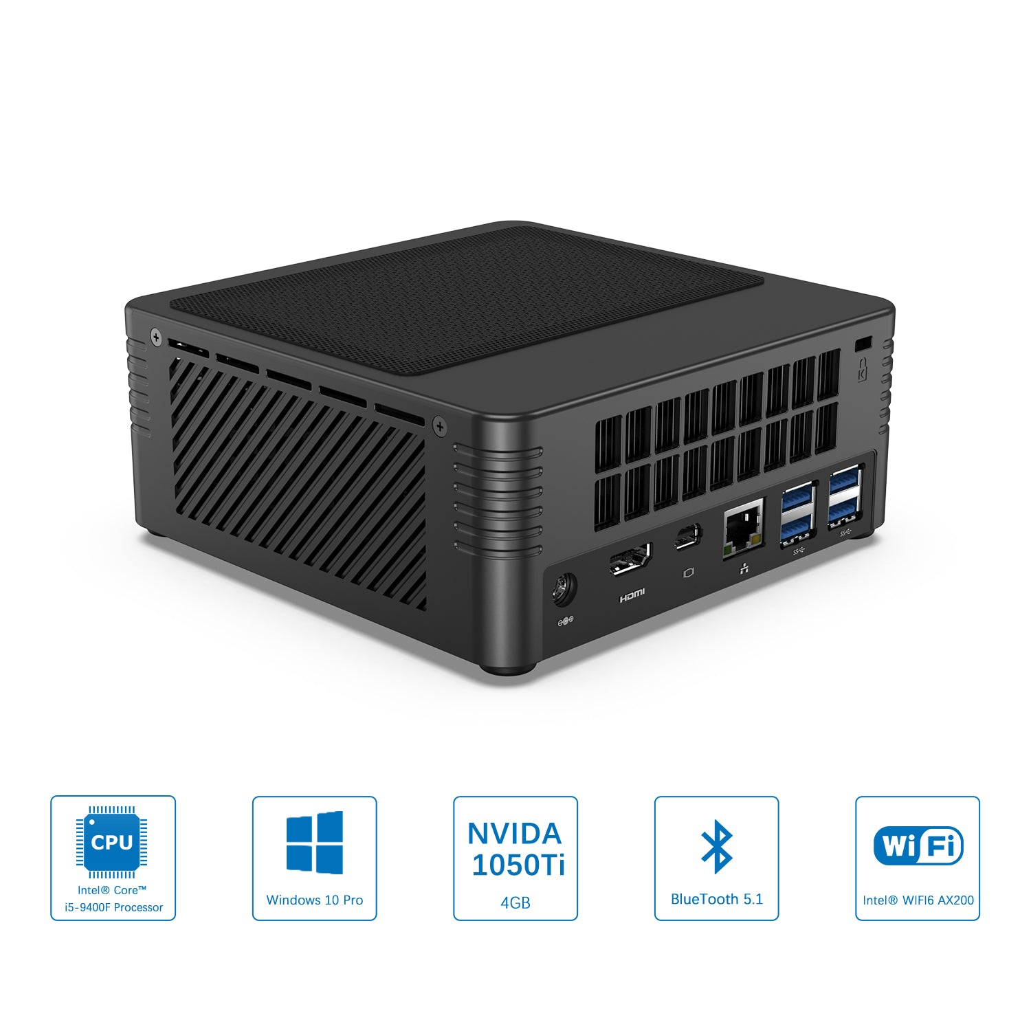 MinisForum EliteMini H31G Mini PC w/ NVidia 1050Ti showing features