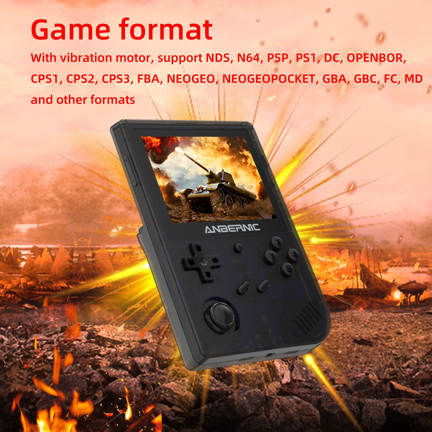 ANBERNIC RG351V Retro Gaming Handheld - Showing supported game formats