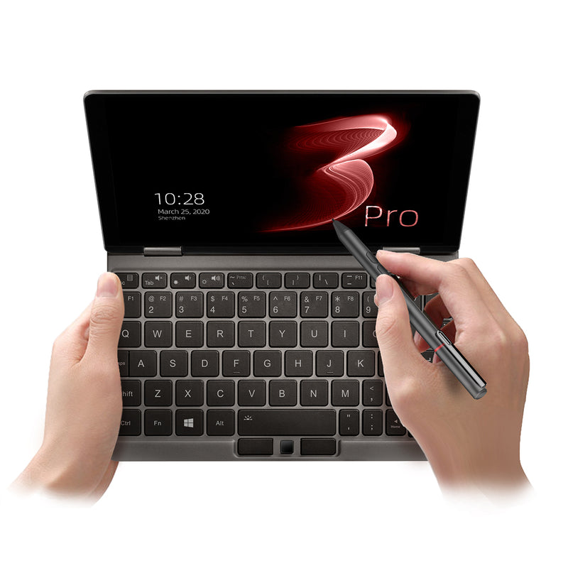 One Netbook Mix 3 Pro Platinum being used by a person with the Official Stylus