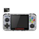 DroiX RetroGame RG350 Retro Gaming Handheld Console - Transparent White with 64GB Micro SD Card - Front View
