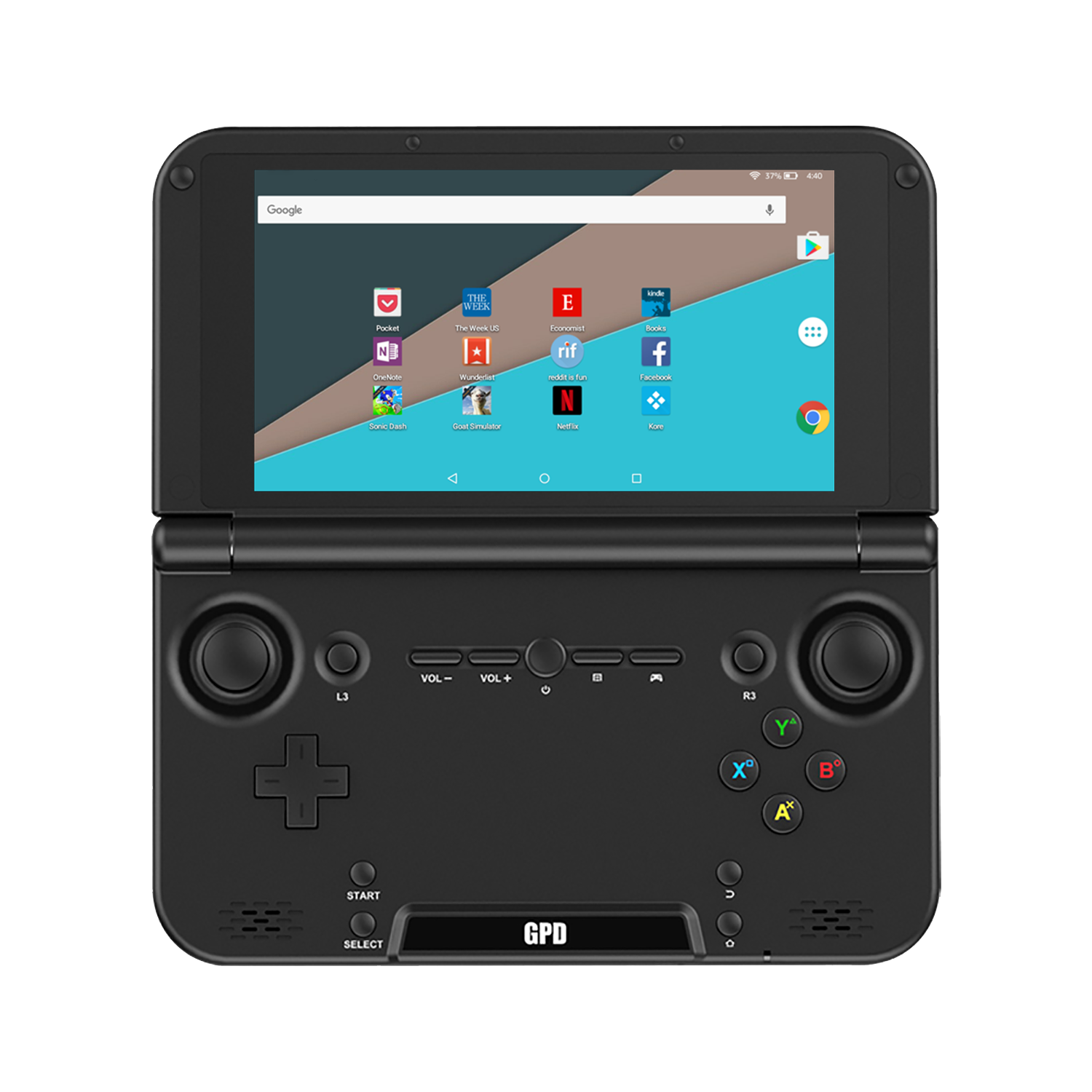 GPD XD Plus front view - Showing Android 7 UI (4116186988598)