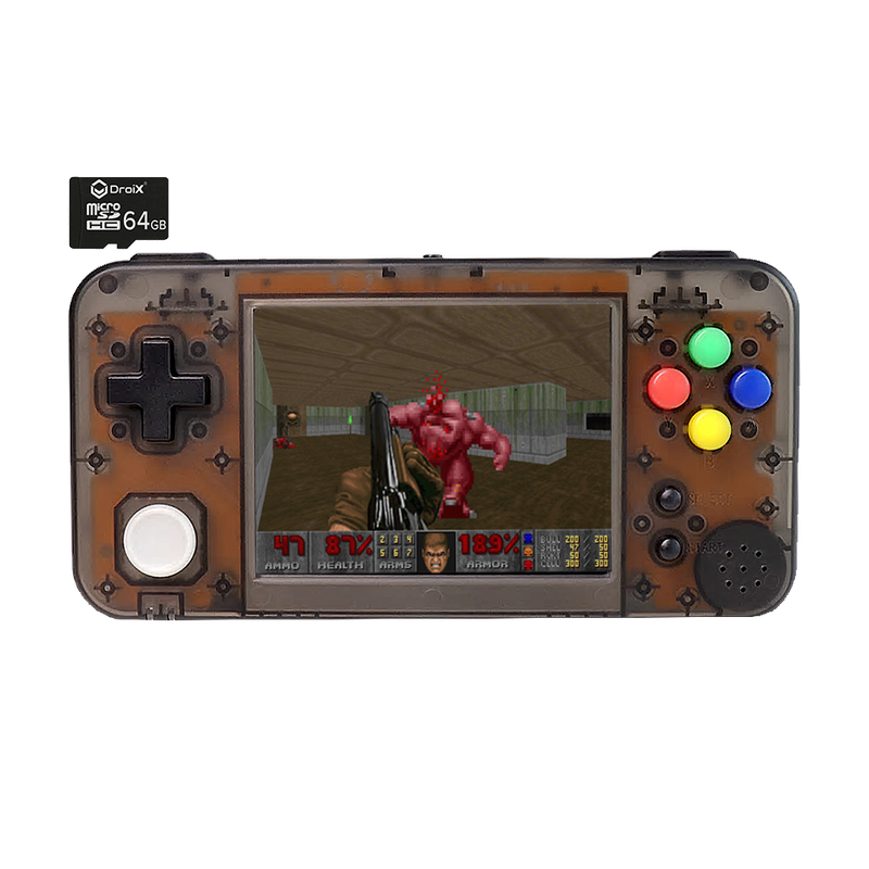 GKD350H Portable Retro Gaming Handheld by DroiX with 64GB DroiX Micro SD Card - Transparent Black Front View