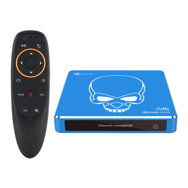 Beelink GT King PRO Android 9 Dolby DTS 4K UHD TV BOX - Front View showing LED with G10 Air-Mouse