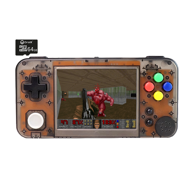 GKD350H Portable Retro Gaming Handheld by DroiX with 64GB DroiX Micro SD Card - Transparent White Front View