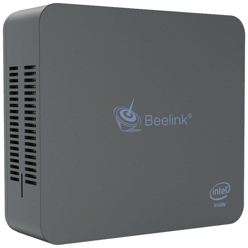 Beelink U55 Standing Up showing Logo and Air Vents (4112670425142)