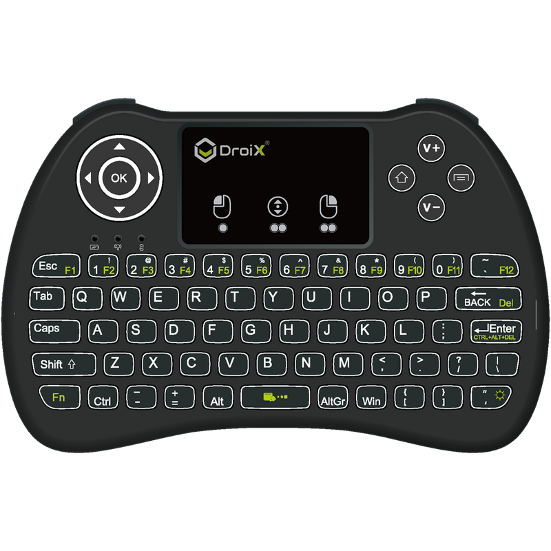 DroiX i9 Mini Keyboard with Touchpad Fully Backlit - For Android TV BOX, Mini PC, Linux, Mac OS (4215932354614)