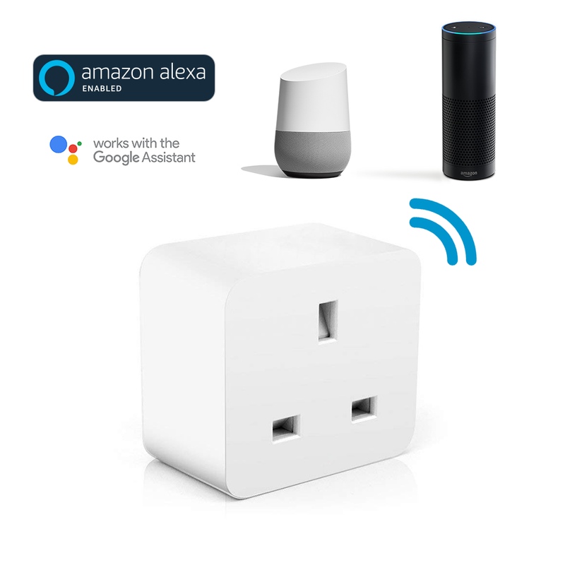 DroiX A9 Smart Wi-Fi Plug - Showing Amazon Alexa and Google Home Compatibility