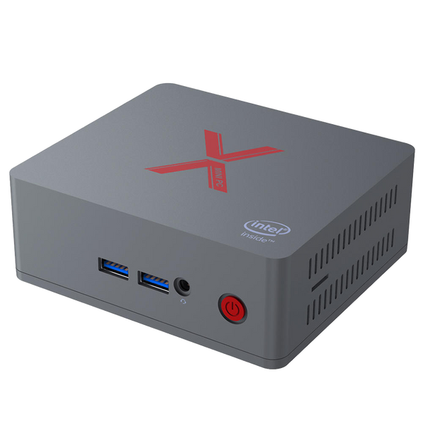 "Beelink BT3-X 4GB RAM 64GB Storage with 2.5"" HDD/SSD Bay Windows 10 Intel Mini PC - Front Angle View showing 2x USB 2.0 Ports and 3.5mm Headphone&Microphone Jack Port (4324034379830)"