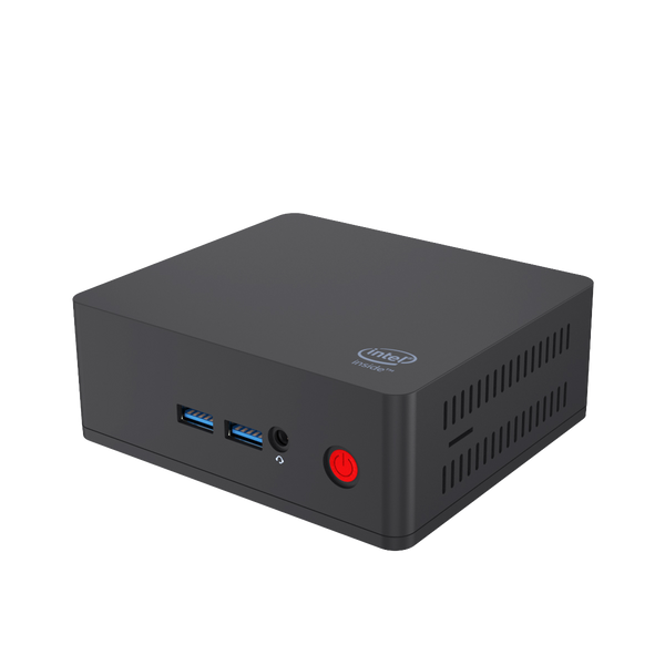 Beelink AP45 Windows 10 Intel NUC HTPC - Front View showing 3.5mm Jack and Power Port