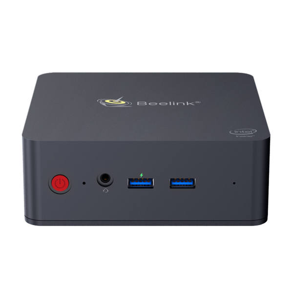 Beelink L55 Windows 10 HTPC Computer for Home and Office - Front View showing Power Button, 3.5mm Headphone&Microphone Jack and 2x USB Type-A 3.0