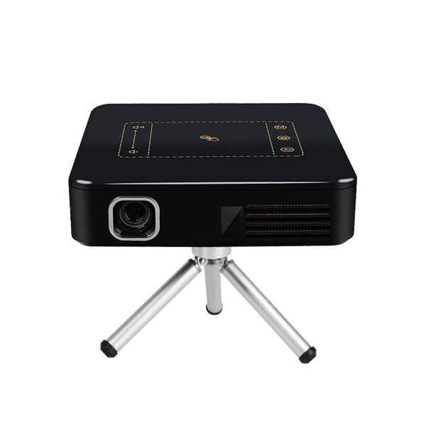 DroiX DP1 Android 7 Nougat DLP Pico Mini Portable Projector - Font View showing Lens and tripod