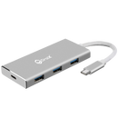 DroiX FX7 USB Type-C Hub showing USB 3.0 Type-C Port, and three USB 3.0 Type-A Ports (4351892357174)