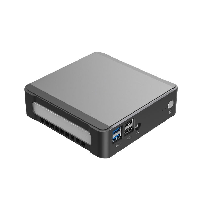 DroiX CK1 Mini PC Windows 10 NUC Up to Intel Core i7 Chipset, 512GB PCI-E NVMe SSD, 16GB DDR4 RAM - Showing right side with 2x USB 3.0 Ports ; 2x USB 2.0 Ports ; 3.5mm Headphone&Microphone Jack and Power Button on the front