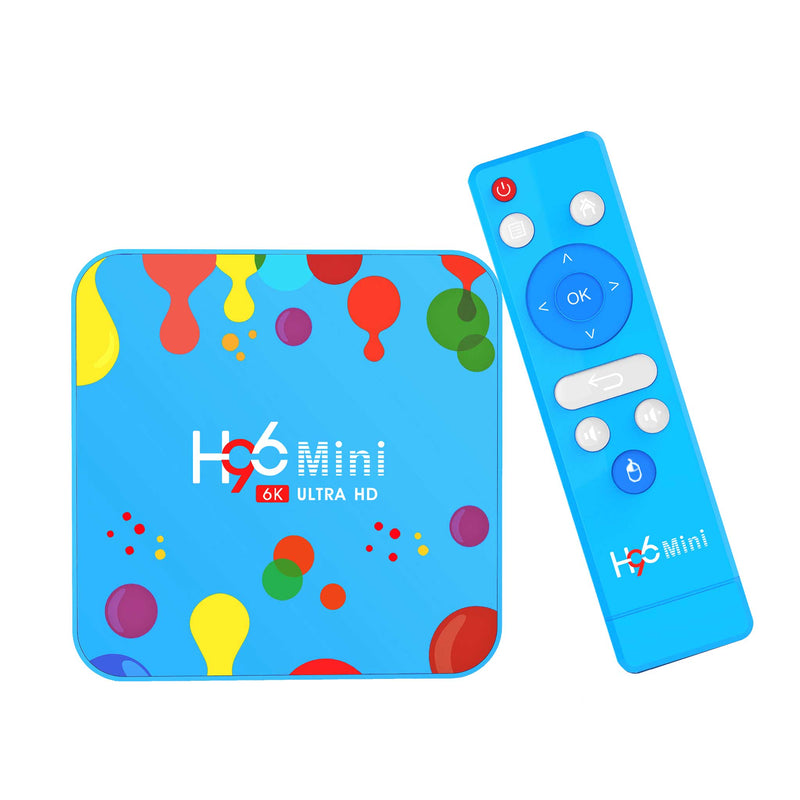 H96 Mini TV BOX Standing up with Remote at an Angle (4115599327286)