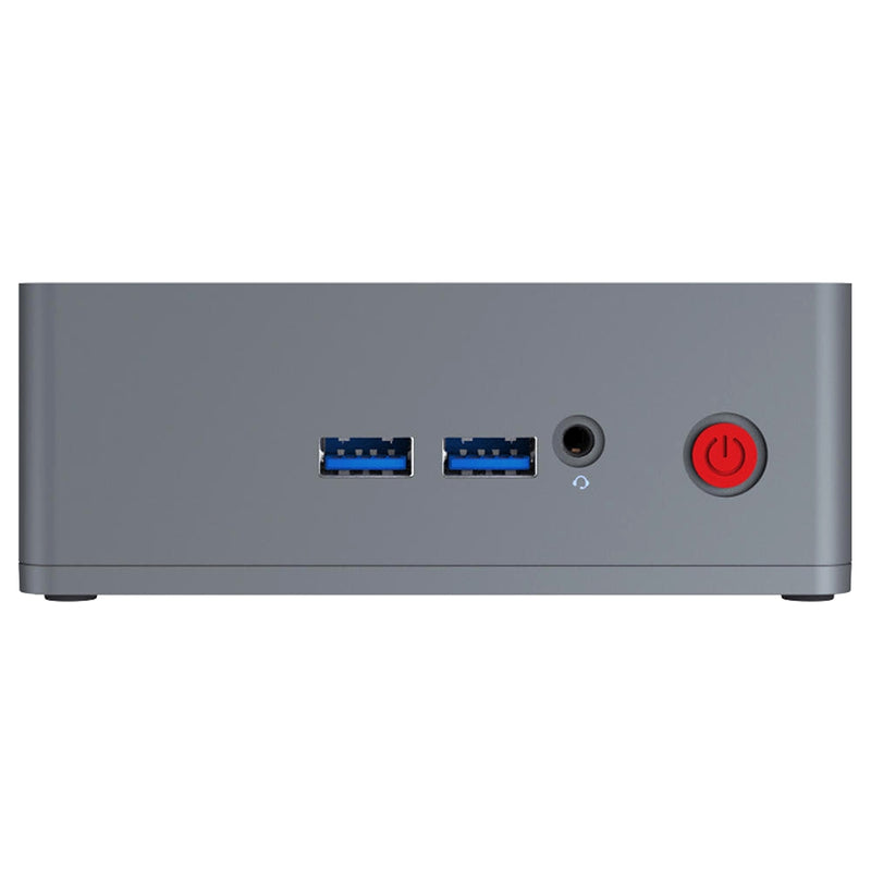 "Beelink BT3-X 4GB RAM 64GB Storage with 2.5"" HDD/SSD Bay Windows 10 Intel Mini PC - Angle View showing 2x USB 2.0 Ports and 3.5mm Headphone&Microphone Jack Port (4324034379830)"