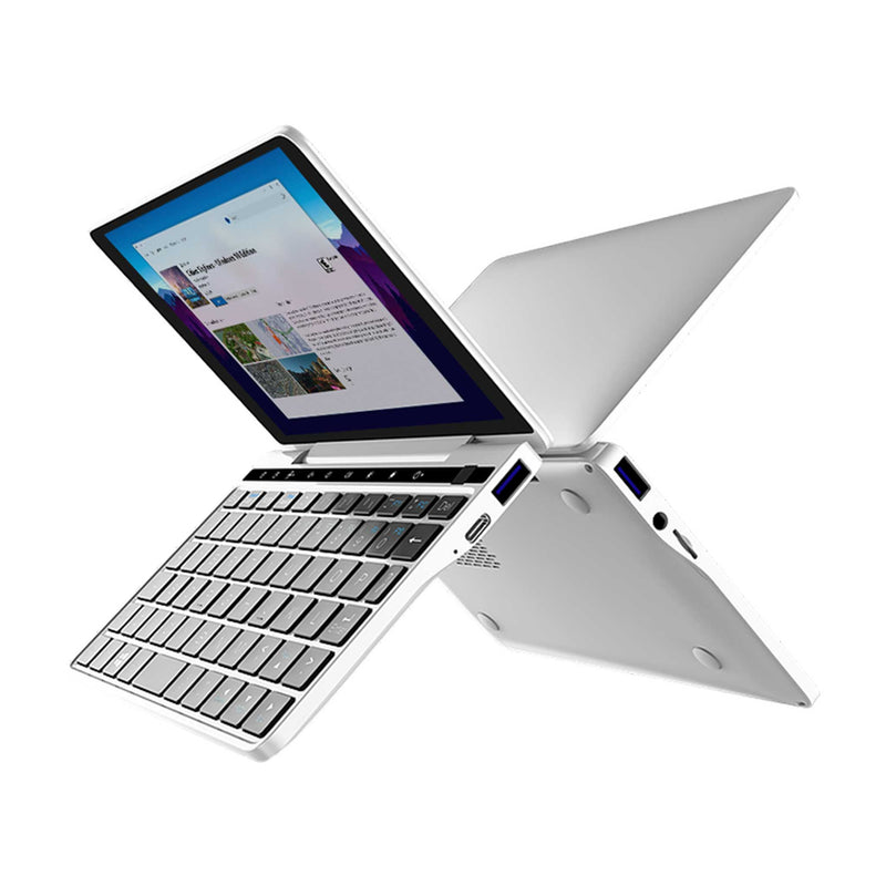 GPD Pocket 2 Silver Opened showing H-IPS Display, 2x USB Type-A 3.0, 1x USB Type-C, MicroSD/TF Card slot and 3.5mm Headphone&Microphone Jack (4163202023478)