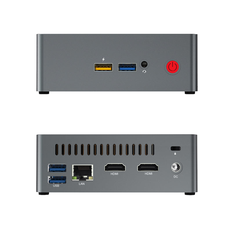 Beelink J45 Windows 10 Mini Computer for Home or Office - Front View showing 2x USB Type-A 3.0 Ports, 3.5mm Headphone&Microphone Jack and Rear I/O (4320711802934)