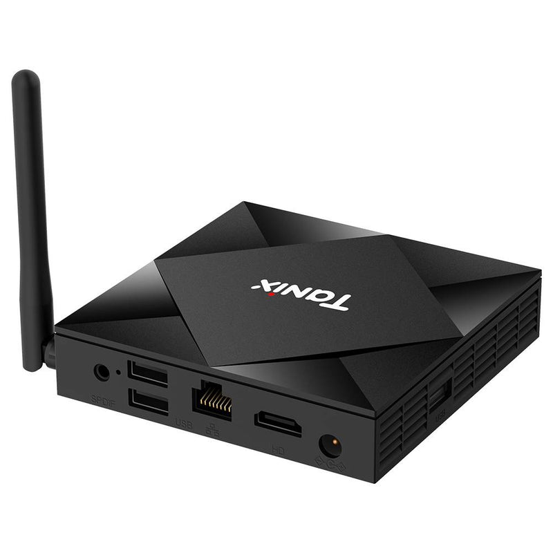 Tanix TX6X Android 10 Smart TV Box - Shown from the back at an angle with Power Port, HDMI 2.0a Port, RJ45 Port, 2x USB Ports and SPDIF Port